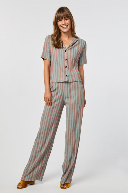 Pantalon loose fit à rayures femme Multicolore