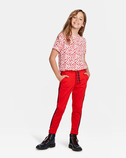 PANTALON JOGGING LIGNES SPORTY FILLE Rouge vif