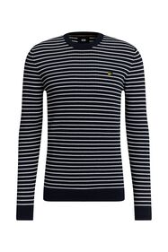 Pull à structure et rayures homme_Pull à structure et rayures homme, Bleu foncé