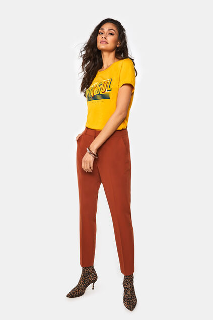Pantalon regular fit femme Brun rouille