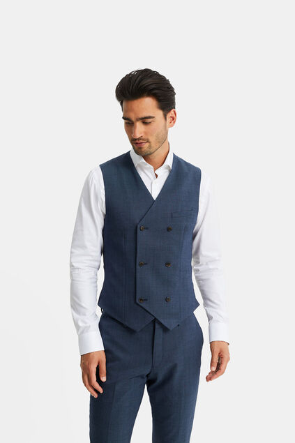 Gilet double breasted chiné Corr homme Bleu marine