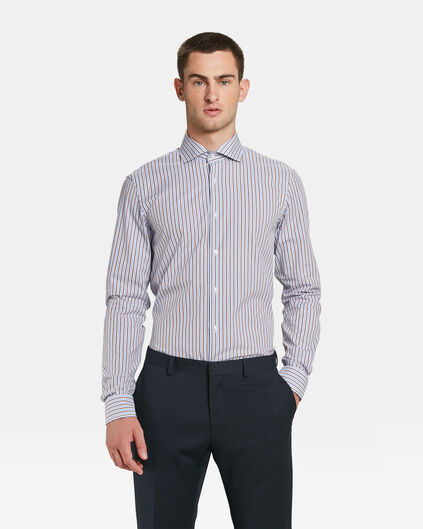 CHEMISE SLIM FIT À RAYURES HOMME Brun Cannelle
