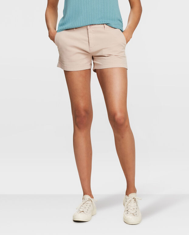 SHORT RELAXED FIT CHINO FEMME Rose clair