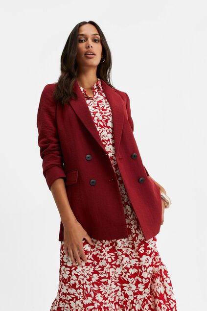 Blazer regular fit double boutonnage femme Rouge