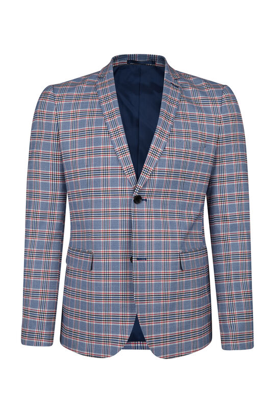 Blazer à carreaux skinny fit homme Rouge