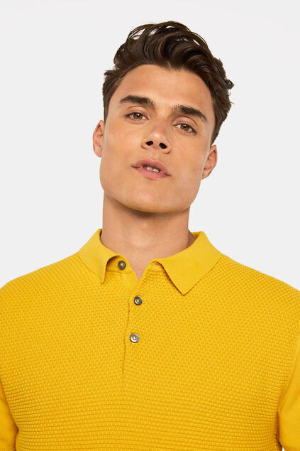 Polo à structure homme Jaune moutarde