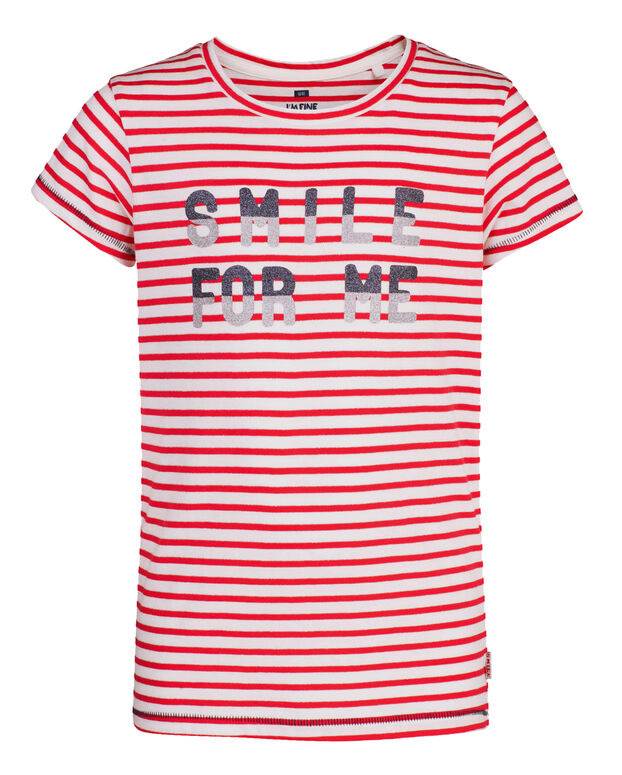 T-SHIRT SMILE FOR YOU PRINT FILLE Rouge