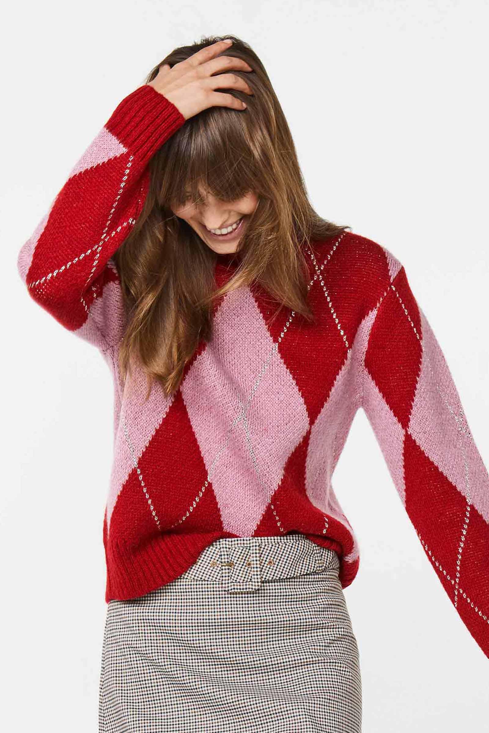 pull carreaux femme rouge