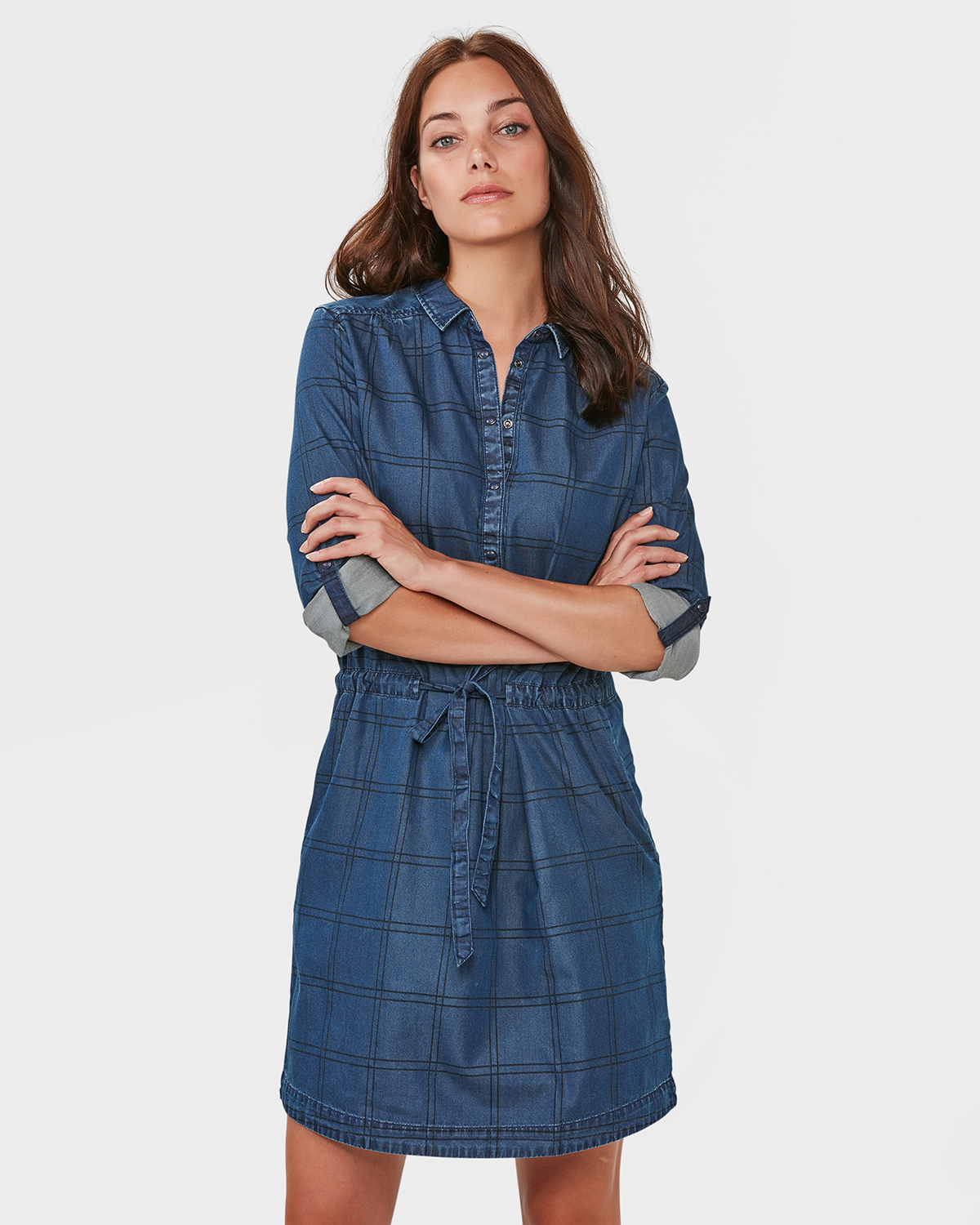 9256c5a521b ... ROBE-CHEMISIER DENIM CHECKED FEMME Bleu