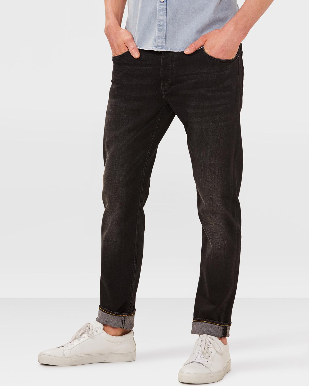 jeans skinny tapered black denim homme 79116022 we fashion. Black Bedroom Furniture Sets. Home Design Ideas